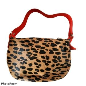 Cecconi Piero Animal Print Hair Calf Handbag Purse